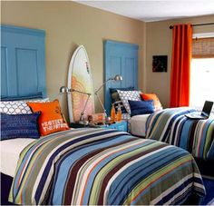 Colorful surfer boy´s room