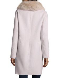 Double-Face Cashmere Coat W/ Fur Collar, Size: LARGE (12-14), Blush - Neiman…