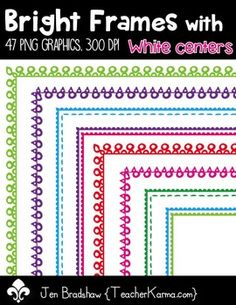 {FREE today} Bright Frames with White Centers Clip Art ~ Borders