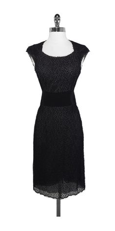 Ports Black Lace Cap Sleeve Dress