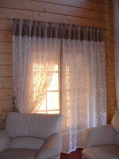 Beautiful sheer patterned curtain with burlap tab top valance Curtains With Blinds, Home Curtains, Elegant Curtains, Sewing Curtains Valance, Home Decor, Curtains, Home Deco, Curtain Decor, Patio Door Coverings