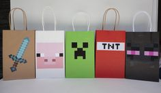 Minecraft Party ideas, Favors, Candy bags, treat bags. Mine craft Party decoration, minecraft Favor bags, minecraft cake, candy table. Minecraft cookies. Minecraft video game. Minecraft balloons. Minecraft plates. Minecraft printable. Fiesta Minecraft. Minecraft festa. Minecraft lembrancinhas. Minecraft bolsitas. Minecraft centerpieces. Minecraft piñata. Minecraft banner. Minecraft picture. Minecraft sign. Minecraft goody/ treat/ loot bags. Minecraft birthday party favors