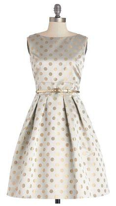 Beautiful gold polka dot pleated dress