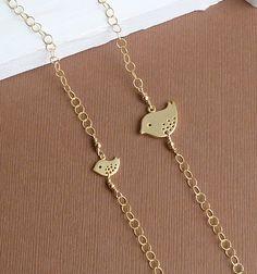 Mother Daughter Gold Bird Bracelet Set -- Sister Bracelet Set -- 14k gold filled chain. $48.00, via Etsy.