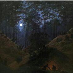 Caspar David F riedrich forest Classic Paintings, Paintings I Love, Nocturne, Landscape Art, Landscape Paintings, Caspar David Friedrich Paintings, Casper David, Creepy Art, Artist Painting