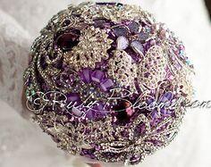 """Crystal Lavender Wedding Brooch Bouquet. Deposit - """"Lavender Petal"""" Heirloom Bridal Broach Bouquet - Ruby Blooms Weddings"""