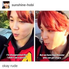 jimin is so savage <--- learned from the best. Somebody's been spending too much time around yoongi...  he used to be so sweet