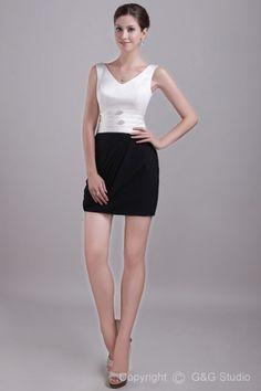 Sheath Short/mini Chiffon/Satin Sleeveless V-neck Crystals Zipper White/Black Natural Prom Dress