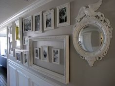 "Photo Gallery Wall; a little busy for ""beach"" but might be good with an accent color"