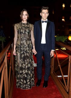 Keira Knightley wearing a Valentino Haute Couture dress from the Fall/Winter 13-14 collection with her husband James Righton wearing a Valentino tuxedo from the Spring/Summer 2014 collection at the Valentino Ball at Palazzo Volpi during the 70th Venice International Film Festival on September 4th 2013 in Venice