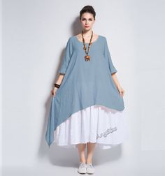 Anysize double color fake two piece soft linen&cotton by AnySize