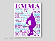 Women's Hockey Typography Art Print Perfect Girl's by twenty3stars, $10.00