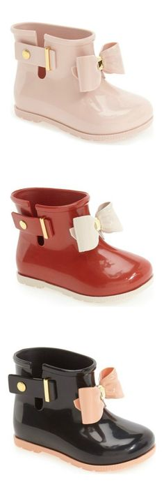 Absolutely adoring this Mini Melissa rain boots! An over-sized bow lends a playful touch to these puddle-ready boots in pink, red and black. Source by formal Baby Girl Shoes, My Baby Girl, Baby Love, Girls Shoes, Baby Girl Outfits, Baby Girl Clothing, Baby Girl Closet, Little Girl Shoes, Teen Clothing