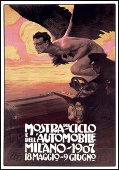Mostra Ciclo 1907 Automobile Club Milan Italy Vintage Poster Print