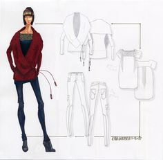 Dukht:fashion and beauty news : How to Make a Fashion Design Portfolio  LIKE THIS LAYOUT COLOR FIGURE AND BLACK AND WHITE FLATS