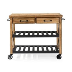 Crosley Roots Rack Industrial Natural Kitchen Cart with Towel Rack - The Home Depot White Kitchen Cart, Kitchen Island Cart, Kitchen Carts, Kitchen Ideas, Kitchen Islands, Cherry Kitchen, Mini Kitchen, Kitchen Designs, Kitchen Appliances