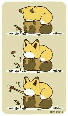 Cute Kawaii Animals, Cute Little Animals, Anime Animals, Animals And Pets, Cute Little Drawings, Kawaii Chibi, Cute Stories, Short Comics, Cute Comics