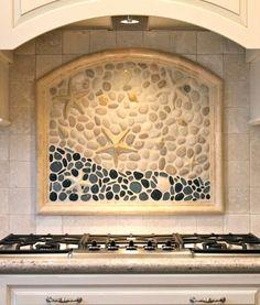 Coastal Kitchen Backsplash Ideas with Mosaic Tiles & Beach Murals - Coastal Decor Ideas and Interior Design Inspiration Images Puntarenas, Coastal Cottage, Coastal Decor, Coastal Homes, Coastal Style, Beach House Decor, Home Decor, Beach Houses, Beach Condo