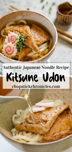 Juicy and plump, sweet soy sauce flavored deep-fried tofu on top of Kitsune Udon. This is an easy recipe with step by step photos and instructional video. A tasty meal for all seasons  #kitsuneudon #udon #udonrecipe #kitsunerecipe #kitsuneudonrecipe Tofu Recipes, Noodle Recipes, Asian Recipes, Cooking Recipes, Ethnic Recipes, Japanese Street Food, Japanese Food, Japanese Noodle Dish, Deep Fried Tofu