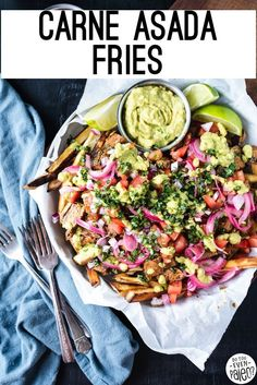 Gluten free carne asada fries makes a great meal that you can share with friends or prep for meals for the week. Juicy, flavorful carne asada, sweet potato fries, and all the best toppings. Gluten free and paleo friendly!