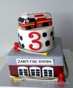 Cake Fiction: Fire Station and Engine Birthday Cake,, fake cake for the bottom. Firefighter Birthday Cakes, Fireman Cake, Truck Birthday Cakes, Fireman Birthday, Fireman Party, Truck Cakes, Fireman Kids, Cupcakes, Cupcake Cakes
