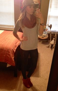 #express faux leather leggings, watch #target booties, sweater #h&m hat #fancypantsmommy