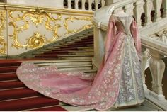 Ceremonial court dress of Empress Maria Fyodorovna from lilac pink velvet and tulle with silver needlework 1870-1880 Russia, St. Petersburg Velvet, silk, tulle, lace, silver threads, wire, embroidery, plaiting. From Hermitage Museum site.
