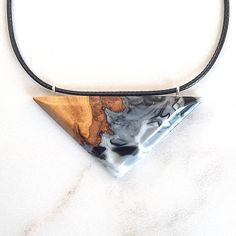 Resin and Wood Pendant Necklace. Made from reclaimed wild cherry wood and mixed resin. Formed by free hand, polished to a mirror like finish! Handmade Jewelry by WoodAllGood.