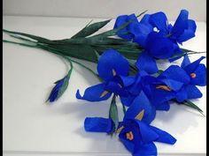 paper flowers craft. Kwiaty z bibuły- Irys. Crepe paper flowers - Iris. Ирис DIY - YouTube