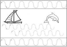 Tracer des lignes ondulés : les vagues de la mer