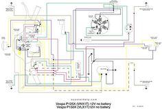 Vespa wiring diagram, no battery, no starter. Vespa