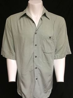 Zanella Made In Italy Green Large Short Sleeve Button Front Shirt #Zanella #ButtonFront
