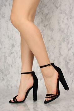 cbf647c65319 Sexy Black Strappy Vamp Ankle Strap Single Sole Chunky High Heels