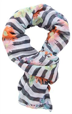 Deb Shops woven #scarf with #stripes and #floral pattern $7.63