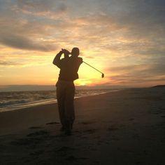 Sean golfing Carolina beach. Great idea for picture in sunset.