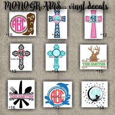 MONOGRAM vinyl decals | name | initial | decal | sticker | car decals | car stickers | laptop sticker - 10-18