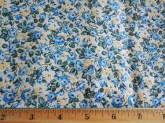 Floral Fabric BTY White /w Small Blue Flowers 100% Cotton Quilting Sewing