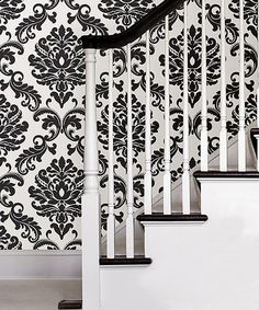 Another great find on #zulily! Black & White Damask Ariel Peel & Stick Wallpaper #zulilyfinds