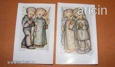 Berta Hummel szentképek a 30-s évekből! Original Rare Print! Fleißbildchen. Ars sacra Nr. 3386-3387.