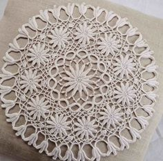 Linen pillow cover and crochet Irish lace doily by FrenchDecoChic