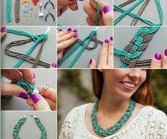 Diy necklace craft ideas a like board ожерелье, бисер ve мак Tutorial Colar, Necklace Tutorial, Diy Necklace, Crochet Necklace, Collar Necklace, Diy Bracelet, Jewelry Crafts, Handmade Jewelry, Jewelry Art