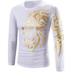 Tattoo Style Golden Tiger Print Round Neck Long Sleeve T Shirt For Men (27 BAM) ❤ liked on Polyvore featuring men's fashion, men's clothing, men's shirts, men's t-shirts, mens tattoo shirts, mens tiger print shirt, mens long sleeve t shirts, men's round neck t shirts and mens longsleeve shirts