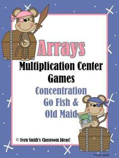 Multiplication Monkey Pirate Themed Arrays Concentration, Go Fish and Old Maid for Common Core Three Games in One! ~By www.FernSmithsClassroomIdeas.com
