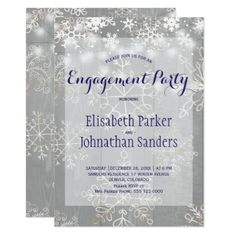 Winter snowflakes wonderland engagement party card - Xmascards ChristmasEve Christmas Eve Christmas merry xmas family holy kids gifts holidays Santa cards