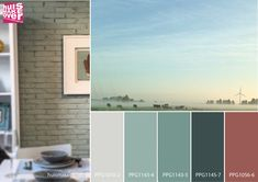 Blue/Green colour board mix in a peaceful morning setting