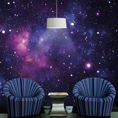 love the contrast between textures. tripped sofas work well. lovely blue/navy colour Galaxy Wallpaper Mural