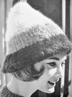 INSTANT DOWNLOAD  PDF 1960 Vintage Crochet Pattern Cute High Peak Shape Striped Hat Pattern Fun 60s Ski Resort Fashion Pattern