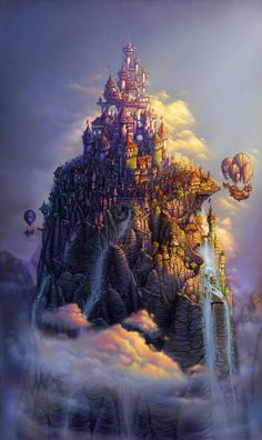 steampunk mountain city and airships