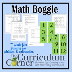 Addition and Subtraction Math Fact Boggle