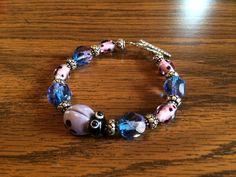 Handmade Glass Beaded Bracelet with Purple Ladybug by wickedhoule, $30.00